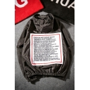 New Fashion Street Style Letter Pattern Hooded Long Sleeve Zip Up Coat