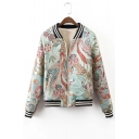 Chic Floral Crane Embroidered Contrast Stand-Up Collar Zip Up Baseball Jacket