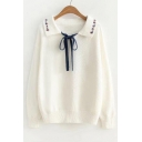 Chic Floral Print Collar Bow Embellished Long Sleeve Pullover Sweater