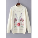 Mock Neck Long Sleeve Chic Floral Birds Embroidered Pullover Sweater