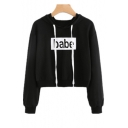 Simple Letter Pattern Long Sleeve Casual Leisure Cropped Hoodie