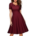 New Collection Basic Plain V Neck Short Sleeve Midi Fit Flare Dress