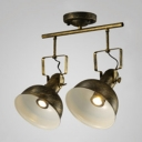 Industrial 2 Light Semi Flushmount Ceiling Light with Metal Shade, Bronze