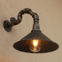 Industrial Wall Sconce with Pipe Fixture Arm and Metal Shade in Retro Style