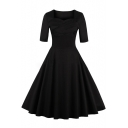 Vintage Square Neck Half Sleeve Basic Plain Hot Fashion Midi Fit Flared Dress