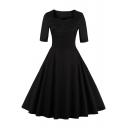 Vintage Square Neck Half Sleeve Basic Plain Hot Fashion Midi Fit Flared Dress