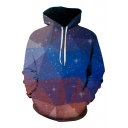 New Stylish 3D Geometric Galaxy Pattern Casual Loose Unisex Long Sleeve Hoodie