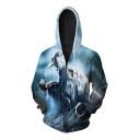 New Arrival Digital Roaring War Wolf Print Long Sleeve Zip Up Unisex Hoodie