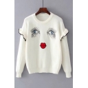 Cartoon Eyelashes Lip Happy Face Printed Round Neck Long Sleeve Sweater