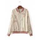 Chic Floral Embroidered Stand-Up Collar Long Sleeve Zip Up Baseball Jacket