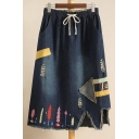 New Arrival Elastic Drawstring Waist Fashion Trees Embroidered Midi Denim Skirt