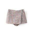 New Trendy Classic Plaids Printed Zip Up Back Skorts Shorts