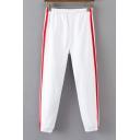 Color Block Double-Stripe Side Elastic Waist Harem Pants