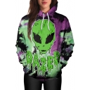 New Arrival Fashion Digital Alien Pattern Long Sleeve Unisex Hoodie