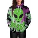 New Arrival Fashion Digital Alien Pattern Long Sleeve Unisex Hoodie