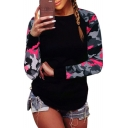 Color Block Camouflage Pattern Round Neck Long Sleeve Casual Sports T-Shirt