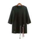 Round Neck 3/4 Sleeve Fashion Hollow Out Tunic Casual Sweater