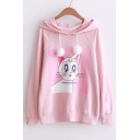 Casual Loose Lovely Cartoon White Cat Pattern Long Sleeve Basic Hoodie