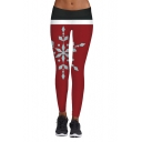 New Arrival Fashion Christmas Snowflake Printed Skinny Yoga Leggings