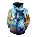 New Arrival 3D Colorful Tiger Pattern Long Sleeve Casual Leisure Hoodie