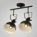 Industrial Semi Flushmount Ceiling Light with 2 Light and Metal Shade, Black/White