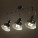 Industrial 3 Light Semi Flushmount Ceiling Light with Bowl Shade, Black/White