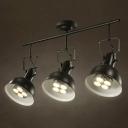 Industrial 3 Light Semi Flushmount Ceiling Light with Bowl Shade, Black/White