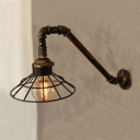 Industrial Wall Light LOFT Arc Pipe Style Fixture with Metal Cage Frame in Heritage Bronze