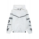Color Block Chic Letter Printed Hooded Long Sleeve Zip Up Loose Unisex Sun-Proof Coat