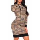 Fashion Camouflage Printed Hooded Long Sleeve Sexy Mini Bodycon Dress