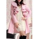 New Arrival Fashion Ruffle Hem Collar Long Sleeve Simple Plain Tunic Coat
