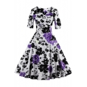Fashion Vintage Floral Pattern Square Neck Half Sleeve Midi Fit Flared Dress