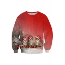 New Collection Lovely Christmas Cat Printed Long Sleeve Round Neck Sports Sweatshirt