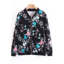 Stand-Up Collar Long Sleeve Fashion Floral Pattern Zip Up Baseball Jacket