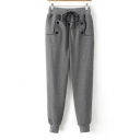 Basic Drawstring Waist Simple Plain Loose Casual Sports Joggers Pants