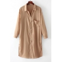 Basic Simple Plain Lapel Collar Long Sleeve Tunic Buttons Down Shirt with One Pocket