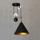 Industrial Extendable Pendant Light with Black Cone Shade