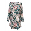 Summer's Round Neck Long Sleeve Fashion Floral Pattern Mini Shift Dress