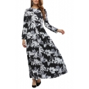 New Collection Round Neck Long Sleeve Chic Floral Pattern Maxi A-line Dress