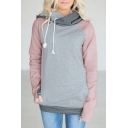 Hot Fashion Basic Simple Color Block Zip Side Long Sleeve Hoodie