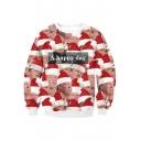 Funny Digital Christmas Character Pattern Long Sleeve Round Neck Unisex Sweatshirt