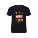 Fashion Comic Characters Pattern Round Neck Short Sleeve Pullover T-Shirt