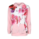 Color Block Floral Pattern Patch Waist Pocket Long Sleeve Hoodie