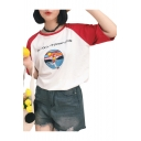 Color Block Letter Print Round Neck Raglan Half Sleeve Tee