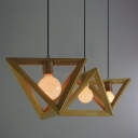Wooden Triangle Brilliant Design Large Pendant Light for Dining Room