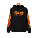 Hot Fashion Fire Letter Printed Long Sleeve Casual Hoodie for Couple
