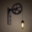 Vintage Wall Lamp with Wheel Shape Arm and Metal Cage, Rust
