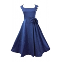 Hot Fashion Vintage Fashion Bow Waist Basic Plain Square Neck Sleeveless Midi Flared Dress