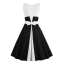 Vintage Fashion Color Block Scoop Neck Sleeveless Bow Tied Waist Flared Dress