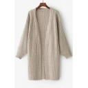 Basic Simple Plain Long Sleeve Open Front Long Comfort Cardigan